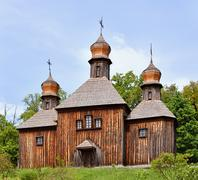wooden christian orthodox church - stock photo