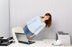 Office worker goes crazy with work Stock Photos
