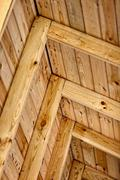 Construction a wooden roof - inside view Stock Photos