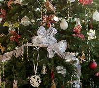 decorated christmas tree in home - stock photo
