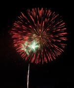 Stock Photo of fireworks in dark sky ready for isolation
