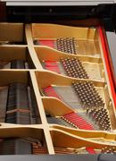 interior of grand piano with strings - stock photo