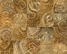 Old soviet coins collage Stock Photos
