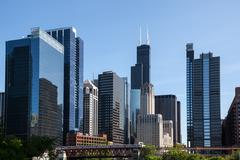 Chicago skyline from the river Stock Photos