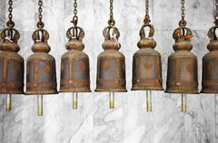 Bells in a buddhist temple Stock Photos