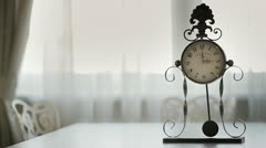 Antique Clock on the Table Stock Footage