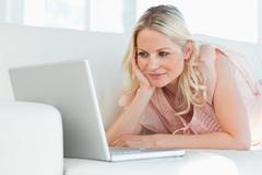 Cute woman on a video chat - stock photo