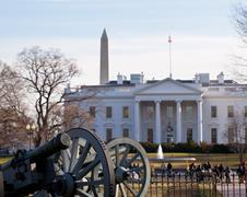 civil war cannons at white house - stock photo