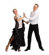 Young couple performs ballroom dance Stock Photos
