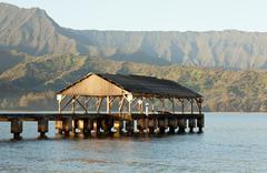 Sunrise in hanalei bay kauai Stock Photos
