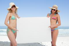 Two friends in beachwear holding a large white poster by the sea - stock photo