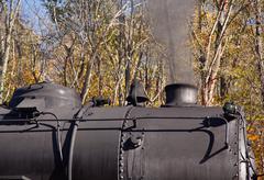 Steam train powers along railway Stock Photos