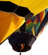 hot air balloon being inflated - stock photo