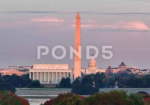 Stock photo of sunset over washington dc