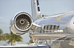 Jet aircraft engine on small private jet airplane Stock Photos