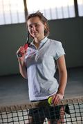 one young woman play tennis - stock photo