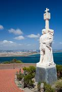 cabrillo monument and san diego - stock photo