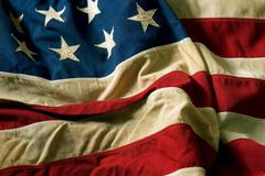 Old USA flag - stock photo