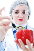 doctor with red papper - stock photo