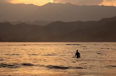 Hanalei bay at sunset Stock Photos