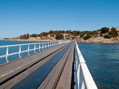 old pier at granite island and victor harbor - stock photo