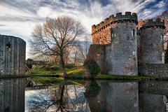 Whittington castle in shropshire reflecting on moat Stock Photos