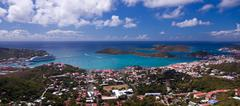 Town of charlotte amalie and  harbor Stock Photos