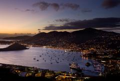 town of charlotte amalie and  harbor - stock photo