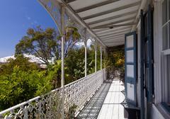 verandah overlooking charlotte amalie - stock photo