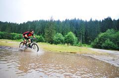 wet mount bike ride - stock photo