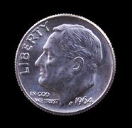 1964 silver roosevelt dime - stock photo