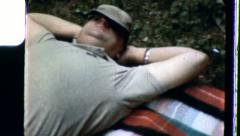TAKING A NAP Sleeping Man Irritated Go Away 1950s Vintage Film Home Movie 3434 Stock Footage