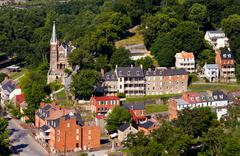 aerial view harpers ferry national park - stock photo