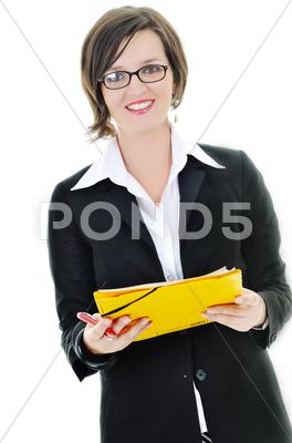 Stock photo of business woman hold papers and folder