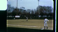Men Play BASEBALL Game MINOR LEAGUE Players 1960s Vintage Home Movie Film 3436 Stock Footage
