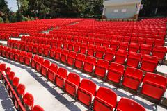 red spectator seats - stock photo