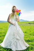 happy young beautiful bride after wedding ceremony event have fun outdoor on  - stock photo