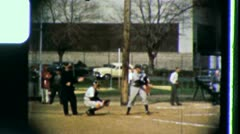 FIRST BASE BASEBALL MINOR LEAGUE (Vintage Home Movie Film Footage) 3440 Stock Footage