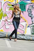 woman urban fashion - stock photo