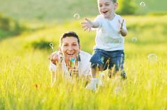 woman child bubble - stock photo