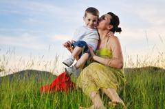 woman child outdoor - stock photo