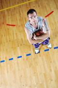 Basket ball game player portrait Stock Photos