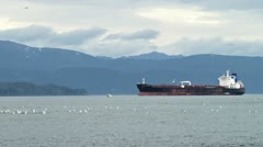 Oil Tanker in Kachemak Bay with Gulls and Small Boat Stock Footage