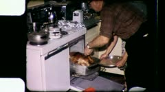 It's Done! THANKSGIVING CHRISTMAS Dinner 1960s (Vintage Film Home Movie) 3451 Stock Footage