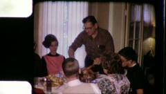 DAD Carving THANKSGIVING Family Meal 1960s (Vintage Film Home Movie) 3452 Stock Footage