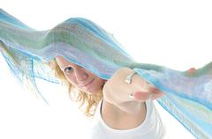 Stock Photo of happy woman scarf