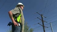 Lineman, utility worker Stock Footage