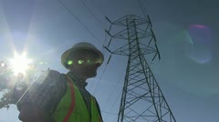 lineman, utility worker - stock footage