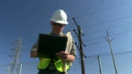 Stock Video Footage of lineman, utility worker