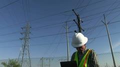 Lineman, utility worker Stock Footage